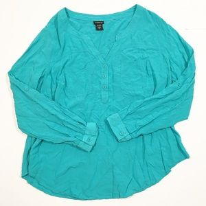 Torrid turquoise long sleeve blouse 1/1X